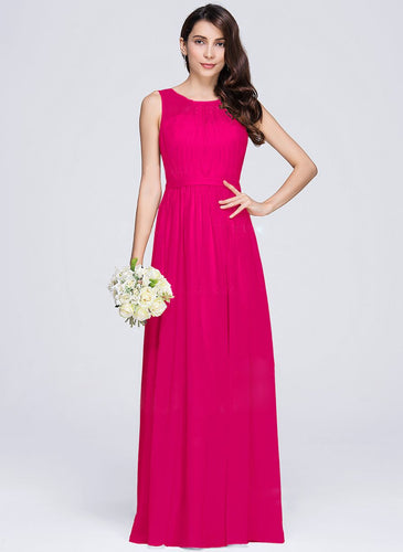 ashley fuchsia cerise raspberry hot pink  sleeveless chiffon long bridesmaid wedding prom dress evening loulous bridal boutique ltd uk