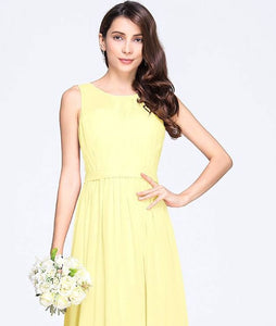 ashley lemon yellow  sleeveless chiffon long bridesmaid wedding prom dress evening loulous bridal boutique ltd uk
