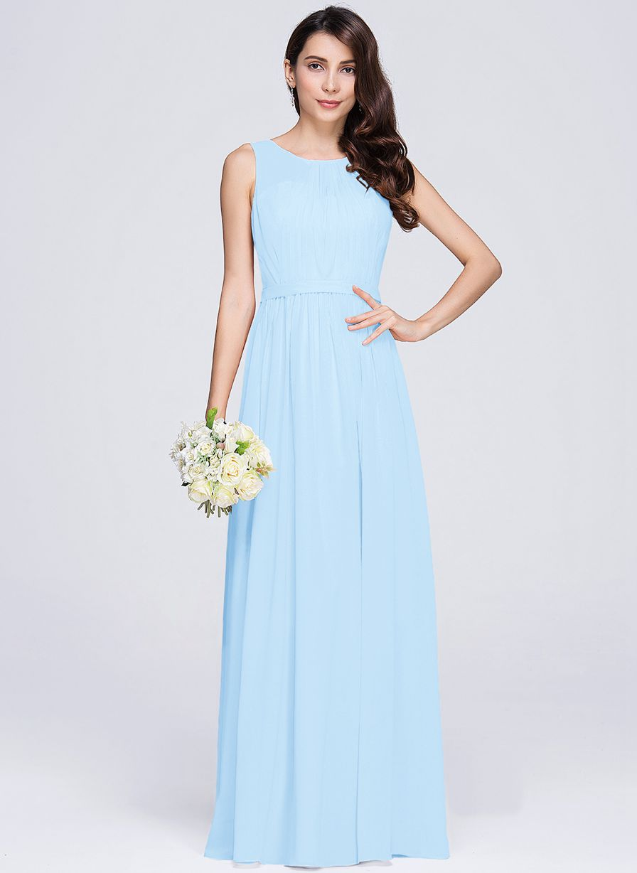 ashley pale light blue  sleeveless chiffon long bridesmaid wedding prom dress evening loulous bridal boutique ltd uk