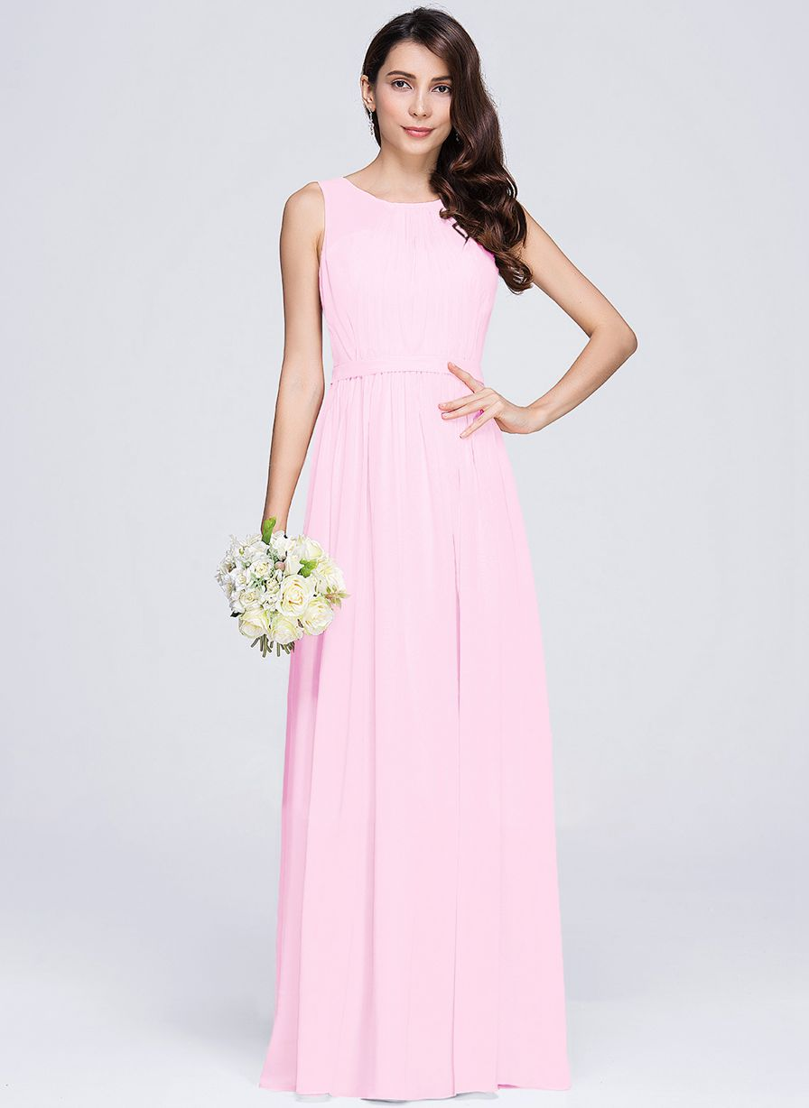 ashley pale light pink  sleeveless chiffon long bridesmaid wedding prom dress evening loulous bridal boutique ltd uk