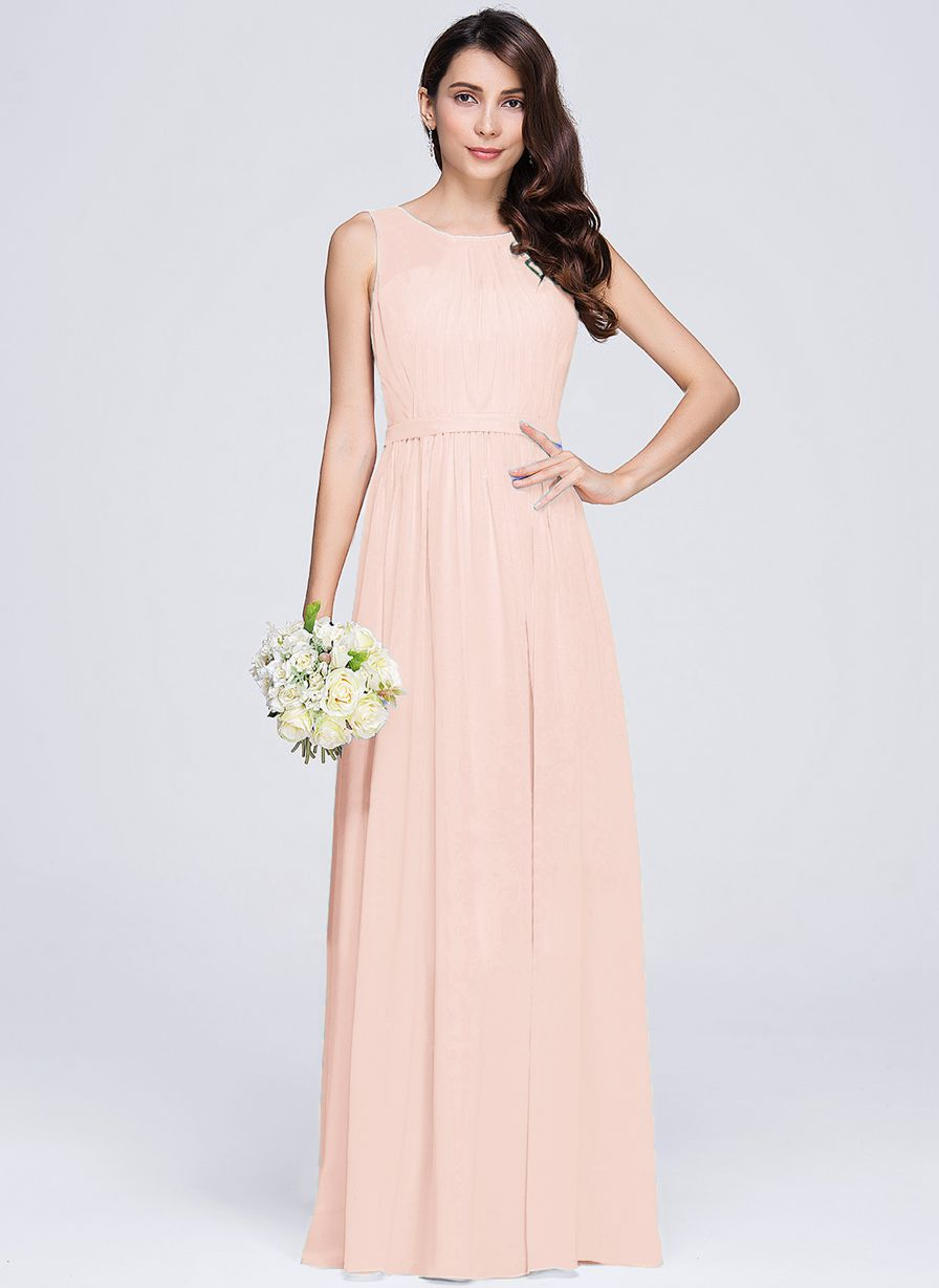 ashley pale light peach  sleeveless chiffon long bridesmaid wedding prom dress evening loulous bridal boutique ltd uk