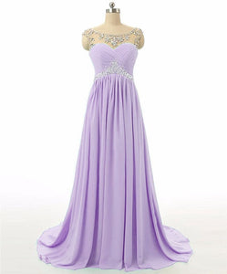 Athena lilac chiffon crystal beaded long bridesmaid evening prom formal occasion cruise wedding bridal dress uk