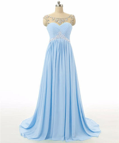 Athena pale light baby blue chiffon crystal beaded long bridesmaid evening prom formal occasion cruise wedding bridal dress uk