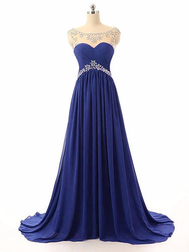 Athena royal cobalt sapphire blue chiffon crystal beaded long bridesmaid evening prom formal occasion cruise wedding bridal dress uk