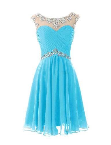 Aqua spa blue turquoise short knee length chiffon crystal beaded bridesmaid evening dress loulous bridal boutique uk