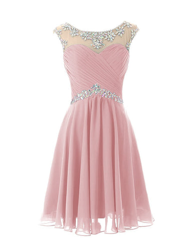 Dusky Blush Pink short knee length chiffon crystal beaded bridesmaid evening dress loulous bridal boutique uk