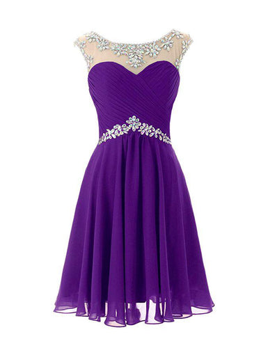 Cadbury Purple short knee length chiffon crystal beaded bridesmaid evening dress loulous bridal boutique uk