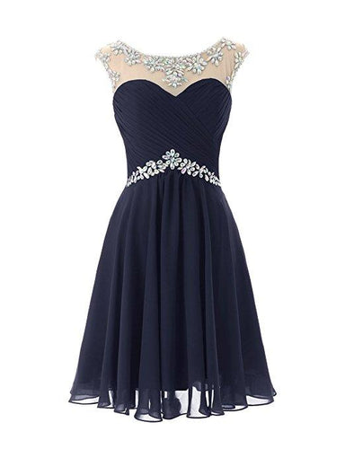 Dark Navy Blue short knee length chiffon crystal beaded bridesmaid evening dress loulous bridal boutique uk