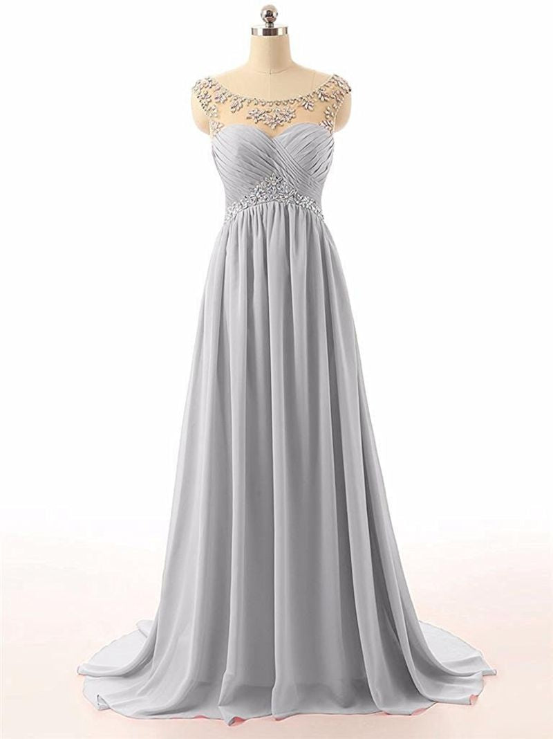Athena silver grey chiffon crystal beaded long bridesmaid evening prom formal occasion cruise wedding bridal dress uk