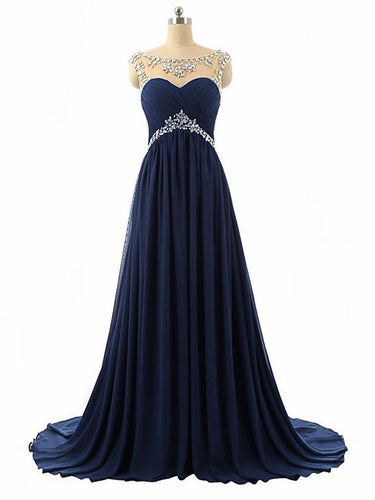 Athena navy dark blue chiffon crystal beaded long bridesmaid evening prom formal occasion cruise wedding bridal dress uk