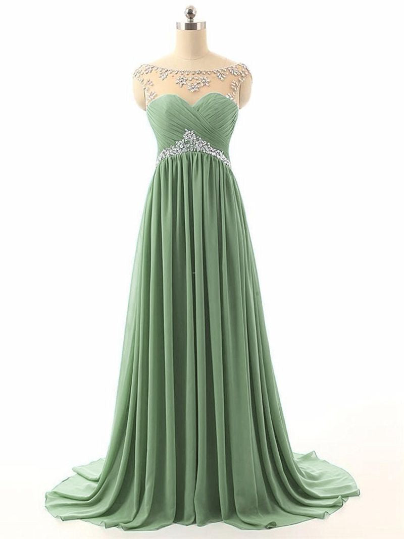 Athena bamboo sage green chiffon crystal beaded long bridesmaid evening prom formal occasion cruise wedding bridal dress uk