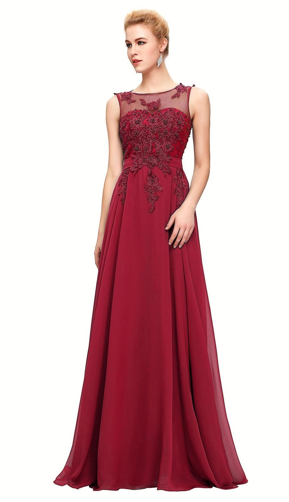 Adele Berry Burgundy Wine Beaded Lace Long Bridesmaid Wedding Bridal Evening Prom Cruise Ballgown Dress Loulous Bridal Boutique UK company