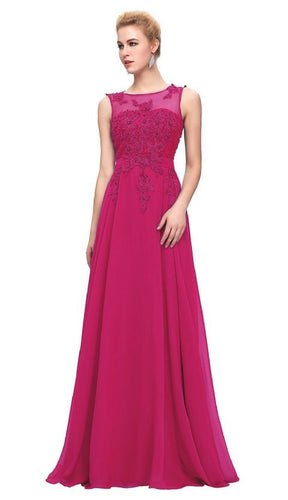 Adele cerise fuchsia hot pink Beaded Lace Long Bridesmaid Wedding Bridal Evening Prom Cruise Ballgown Dress Loulous Bridal Boutique UK company