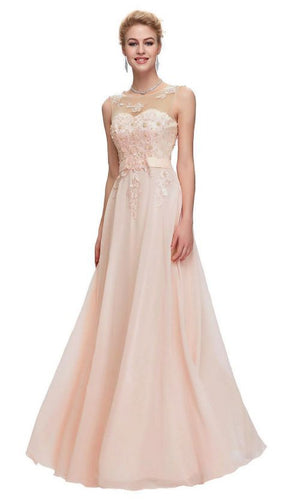 Adele Peach Blush Beaded Lace Long Bridesmaid Wedding Bridal Evening Prom Cruise Ballgown Dress Loulous Bridal Boutique UK company