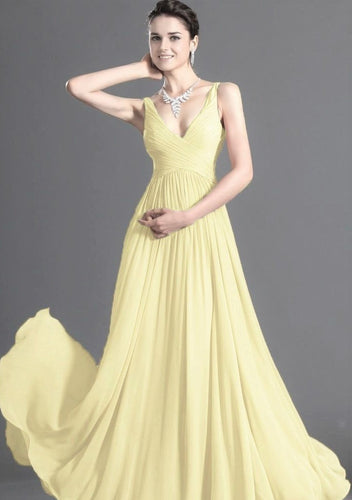 Aimee lemon yellow  chiffon vneck long bridesmaid evening prom wedding dress uk loulous bridal boutique ltd