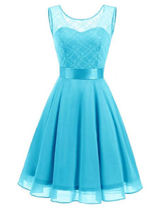 Amelie Aqua Spa Blue Turquoise short knee length lace chiffon bridesmaid prom dress uk