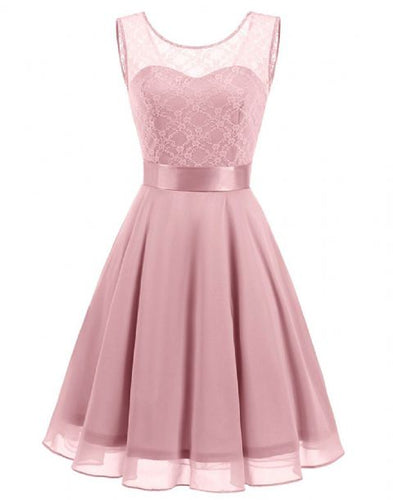 Amelie dusky dusty pink blush short knee length lace chiffon bridesmaid prom dress uk