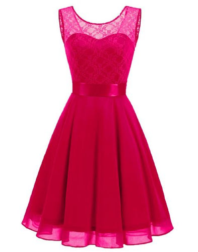 Amelie Fuchsia Cerise Hot Pink short knee length lace chiffon bridesmaid prom dress uk