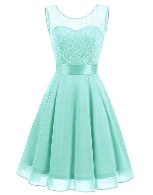 Amelie Pale Mint Green Pastel short knee length lace chiffon bridesmaid prom dress uk