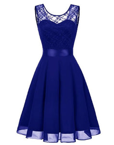 Amelie Royal Cobalt Sapphire Blue short knee length lace chiffon bridesmaid prom dress uk