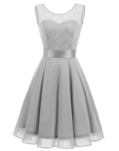 Amelie Silver Grey short knee length lace chiffon bridesmaid prom dress uk