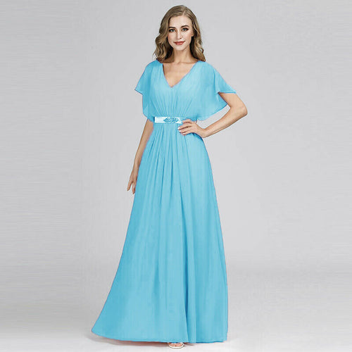 Bryony Aqua Spa Blue Turquoise V Neck Short Sleeved Bridesmaid Wedding Dress UK