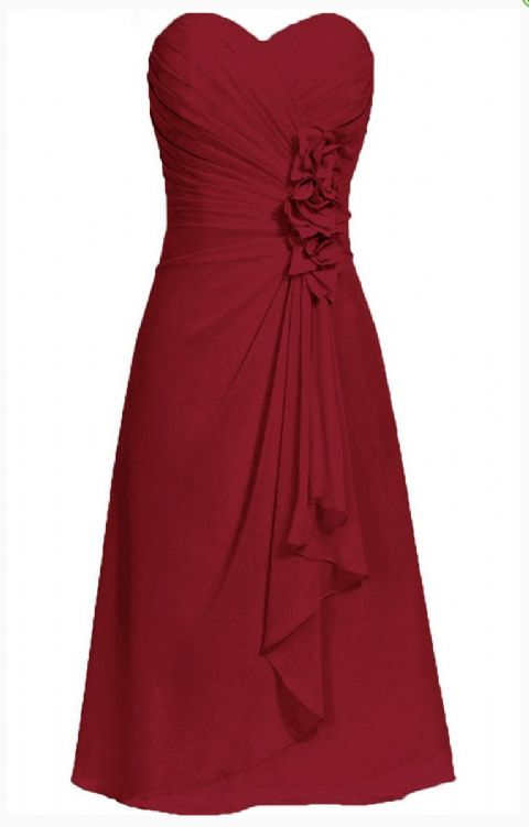 April betsie burgundy berry short strapless corsage bridesmaid wedding bridal evening dress uk