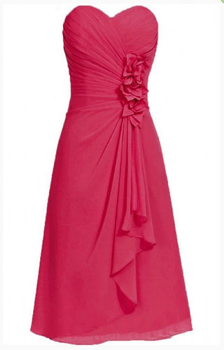 April betsie fuchsia hot pink cerise short strapless corsage bridesmaid wedding bridal evening dress uk