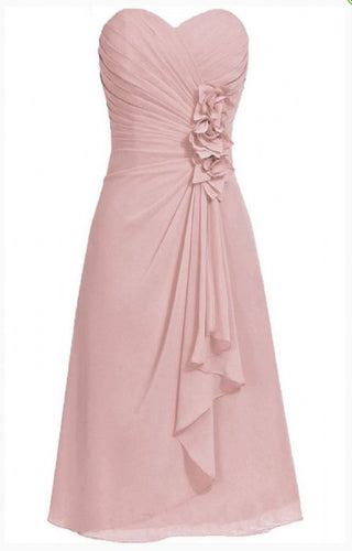 April betsie dusky dusty blush pink short strapless corsage bridesmaid wedding bridal evening dress uk