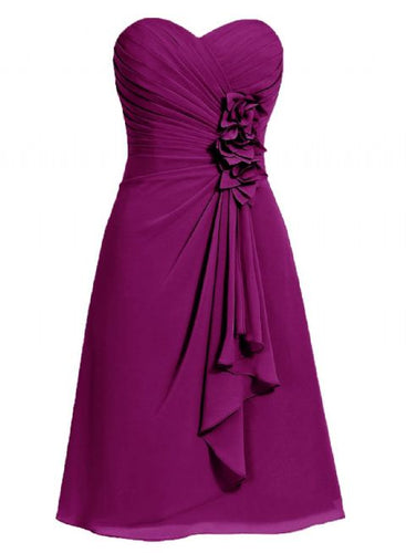 April betsie magenta purple short strapless corsage bridesmaid wedding bridal evening dress uk