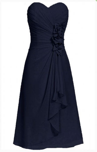 April betsie dark navy blue short strapless corsage bridesmaid wedding bridal evening dress uk