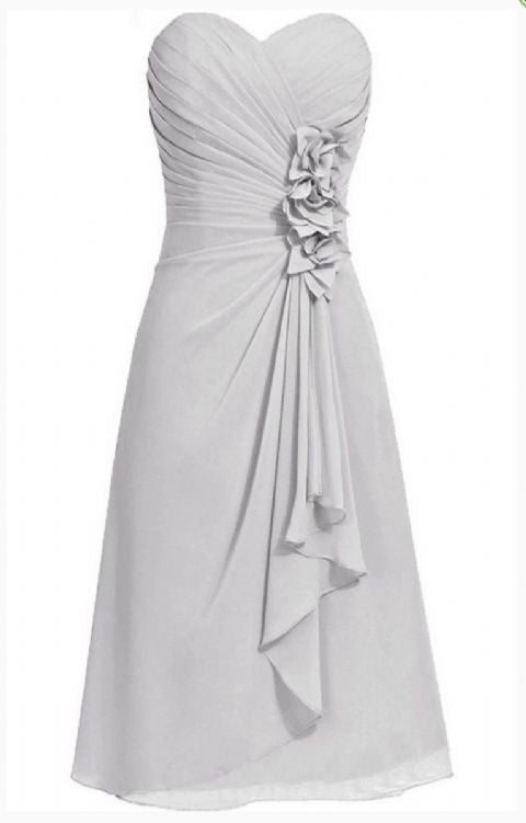 April betsie silver grey short strapless corsage bridesmaid wedding bridal evening dress uk