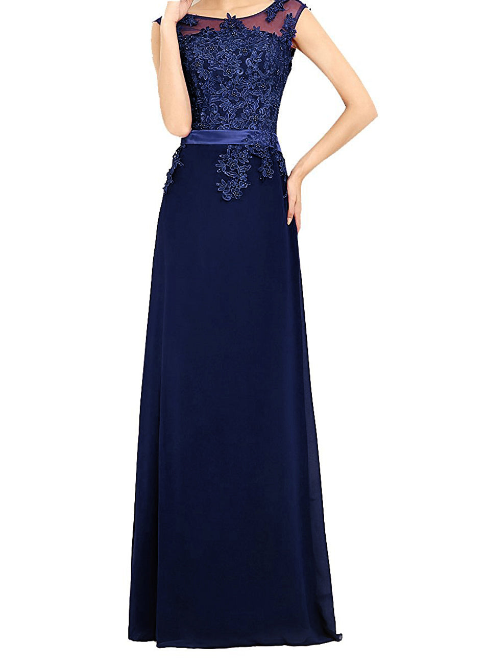 Autumn dark navy blue  lace chiffon long bridesmaid wedding bridal prom evening ballgown dress loulous bridal boutique ltd uk
