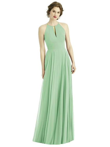 Bamboo Sage Green long halter neck bridesmaid evening prom wedding bridal dress Loulous Bridal Boutique Ltd UK