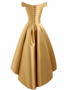 Bethany gold  duchess satin on off shoulder hi lo bridesmaid evening prom wedding bridal dress loulous bridal boutique ltd uk