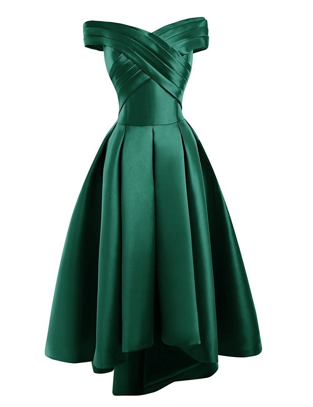 Bethany Dark Emerald Forest Green Satin Hi Lo evening bridesmaid prom dress loulous bridal boutique