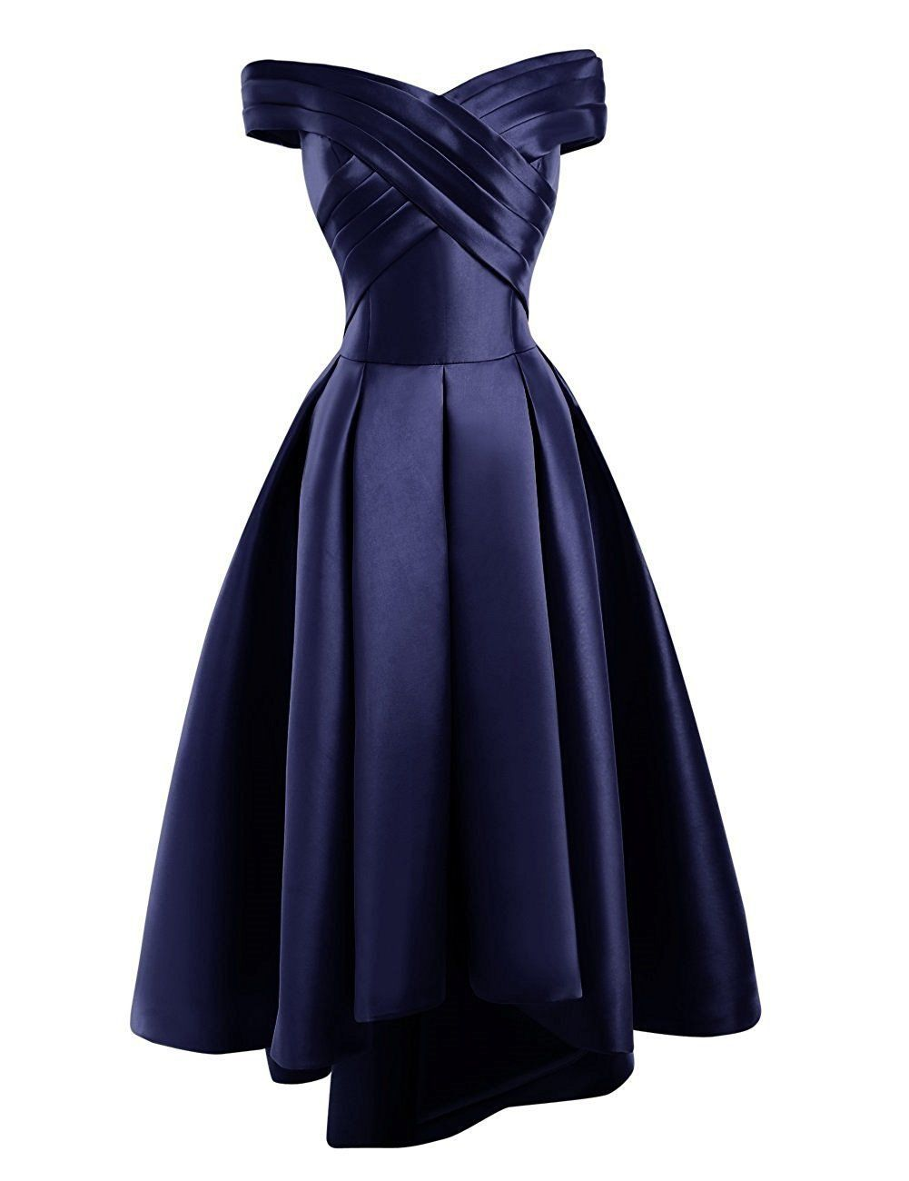 Bethany dark navy blue  duchess satin on off shoulder hi lo bridesmaid evening prom wedding bridal dress loulous bridal boutique ltd uk