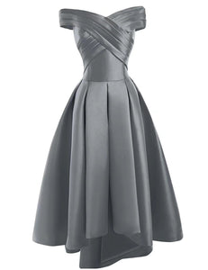 Bethany gunmetal silver grey  duchess satin on off shoulder hi lo bridesmaid evening prom wedding bridal dress loulous bridal boutique ltd uk