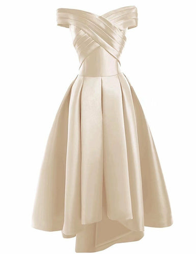 Bethany gold champagne cream  duchess satin on off shoulder hi lo bridesmaid evening prom wedding bridal dress loulous bridal boutique ltd uk
