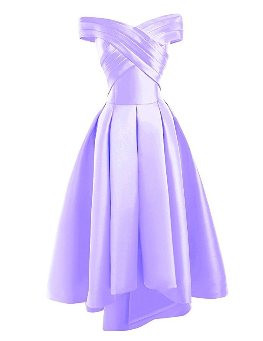 Bethany mauve lilac   duchess satin on off shoulder hi lo bridesmaid evening prom wedding bridal dress loulous bridal boutique ltd uk
