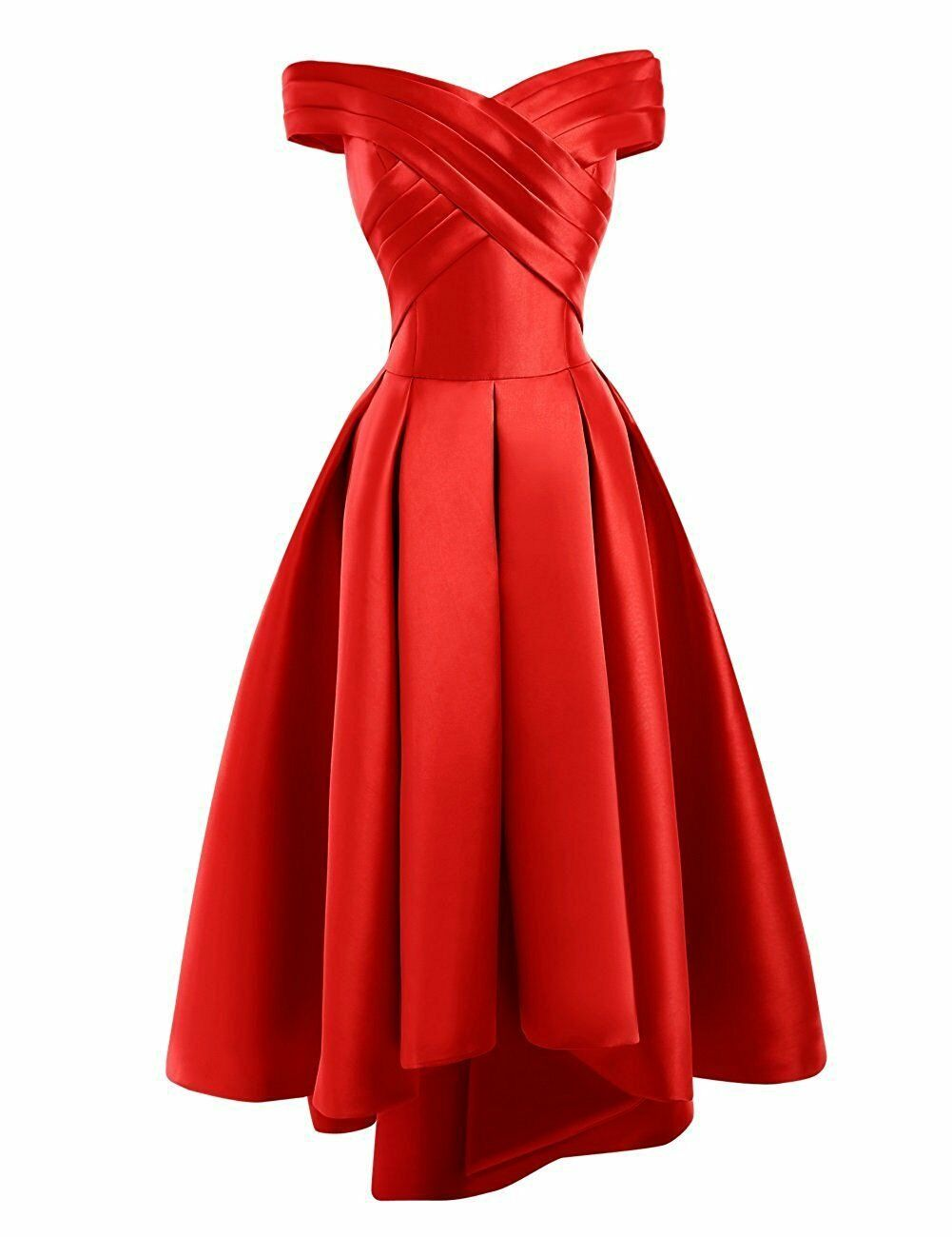 Bethany red  duchess satin on off shoulder hi lo bridesmaid evening prom wedding bridal dress loulous bridal boutique ltd uk