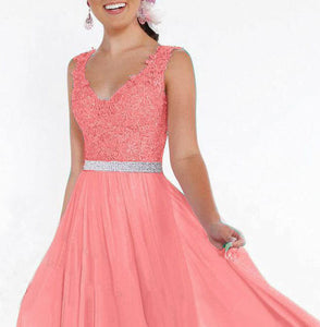 Beth Coral Orange lace chiffon sequin crystal beaded long bridesmaid wedding bridal prom evening dress loulous bridal boutique uk