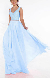 Beth light pale blue lace chiffon sequin crystal beaded long bridesmaid wedding bridal prom evening dress loulous bridal boutique uk