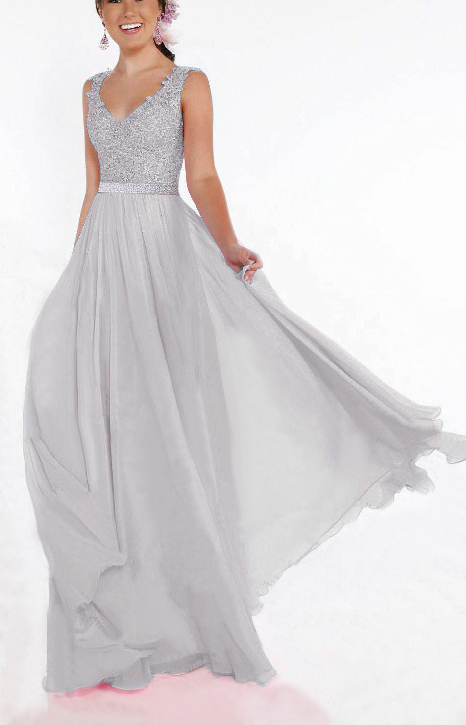 Beth silver grey lace chiffon sequin crystal beaded long bridesmaid wedding bridal prom evening dress loulous bridal boutique uk