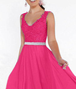 Beth Cerise fuchsia hot pink  lace chiffon sequin crystal beaded long bridesmaid wedding bridal prom evening dress loulous bridal boutique uk