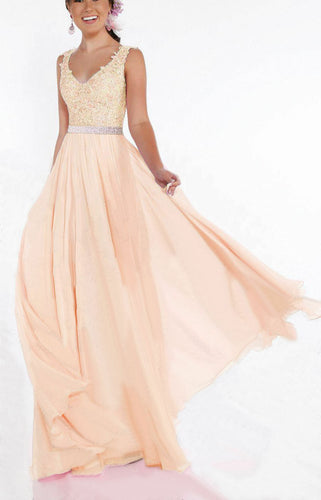 Beth peach blush lace chiffon sequin crystal beaded long bridesmaid wedding bridal prom evening dress loulous bridal boutique uk