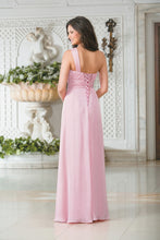 Lindsey pale pink one shoulder grecian long bridesmaid wedding bridal dress loulous bridal boutique ltd uk
