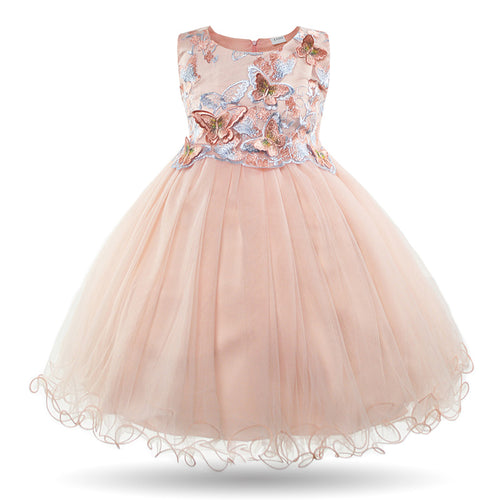 Butterfly - Pink Girls Dress