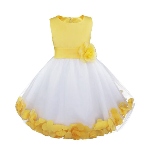 Bonnie white yellow  floating petals floral flower bridesmaid flower girl girls party dress uk