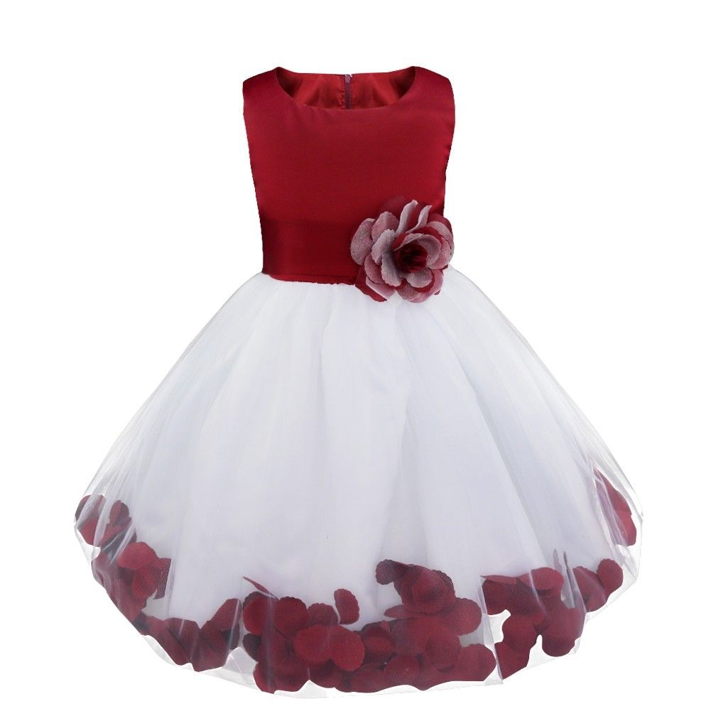 Bonnie white burgundy floating petals floral flower bridesmaid flower girl girls party dress uk